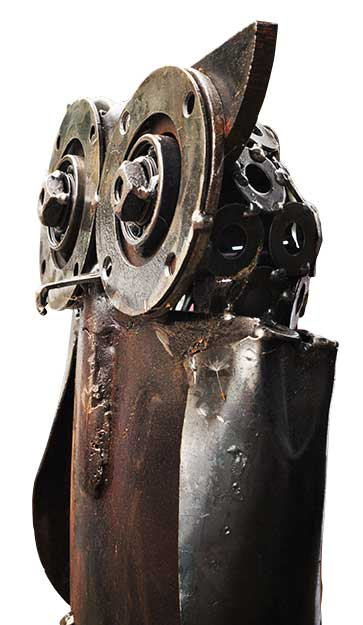 recycled metal owl created by a Recycled Arts Festival artist